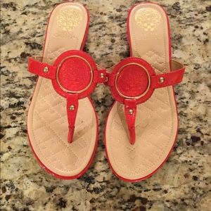 Vince Camuto red leather sandal sz 7.5 NEW